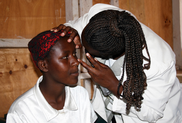Boy Getting Eye Screened In Kenya Africa