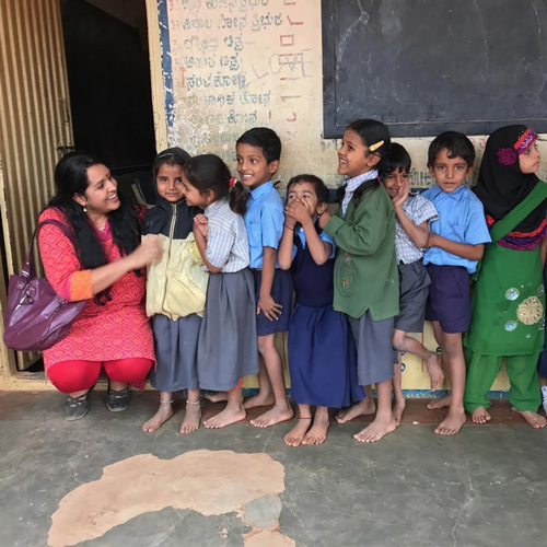 Board Member Dr. Luxme Hariharan With Kids In India
