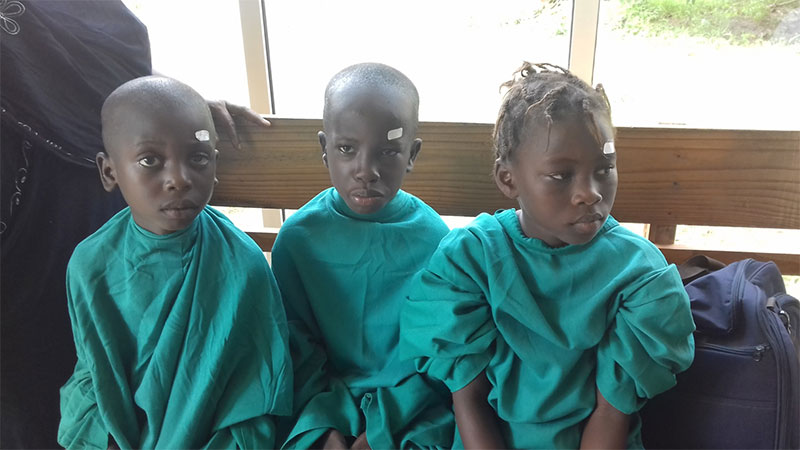 African Children in Surgical Gowns